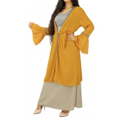 Mid-length kimono with embroidery - Mustard color