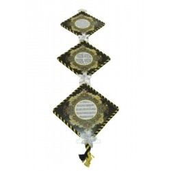 Decorative handcrafted paintings hanging in the shape of a rhombus with Koranic verses