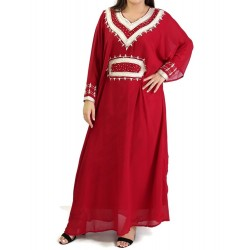 Oriental dress long sleeves with embroidery - Color Red
