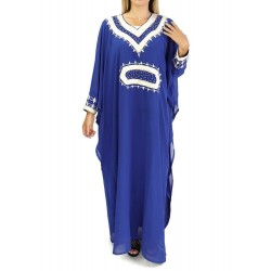 Oriental dress long sleeves with embroidery - Royal blue color