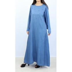 Beaded denim dress with pockets