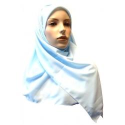 Hijab foulard carré 1m20 bleu ciel en tissu crêpe