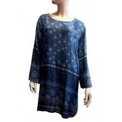 Blue tunic with dark blue and white patterns for women - Standard size