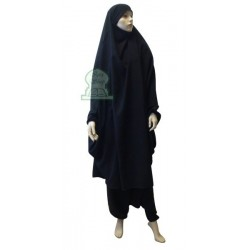 Jilbeb 2 two-piece cape and saroual (pants) - Black Color