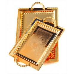 Set of two assorted rectangular golden trays of different size