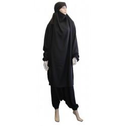 Jilbab 2 pièces marque Al-Haya (Cape + pantalon) - de couleur noire