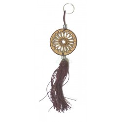 Round wooden keyring pendant carved with arabesques and sabra pompom in brown color
