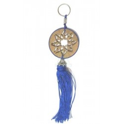 Round wooden keyring pendant carved with arabesques and sabra pompom in blue color