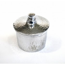 Moroccan artisanal sugar bowl in silver aluminum and delicately hammered