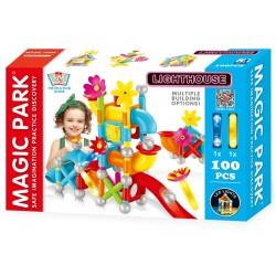 Magic Park : Jeu d'assemblage et de construction avec lumières LED (100 pièces)