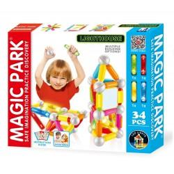 Magic Park : Jeu d'assemblage et de construction avec lumières LED (34 pièces avec...
