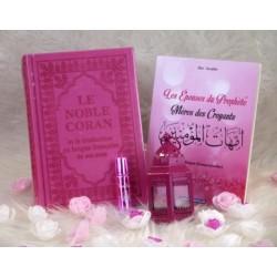 Pack Cadeau Luxe Couleur rose (Coran Bilingue - Les épouses du Prophète - Parfum -...