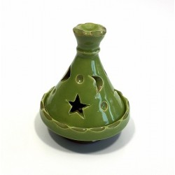 Moroccan mini tajine decorative candle holder in light green pottery