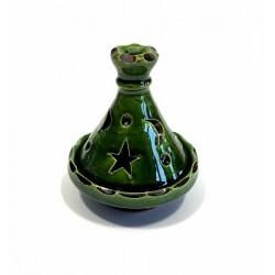 Moroccan mini tajine decorative candle holder in dark green pottery