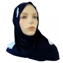 2-piece hijab (tube cups) navy blue decorated with satin white checks