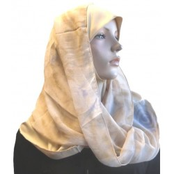 1 piece beige hijab scarf with patterns