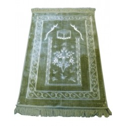 Large thick luxury prayer rug in light green color with discreet patterns indicating...