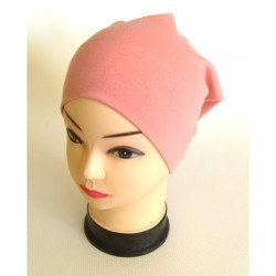 Bonnet tube en coton de couleur incarnation