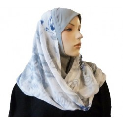 1 piece gray hijab scarf with patterns