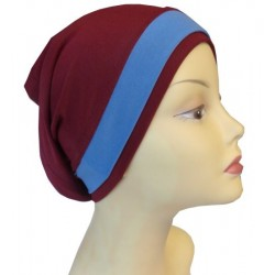 Burgundy dress tube hat with a light blue band