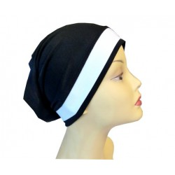 Black dress tube cap with white band