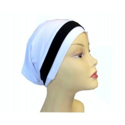 White dress tube cap with black band