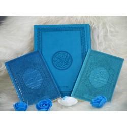 """Pack Cadeau """"pas cher"""" couleur bleu turquoise avec 3 livres : Le Saint Coran, Chapitre..."""
