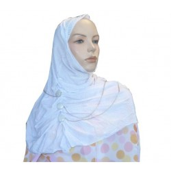 Glittery white hijab with buttons and fine chains