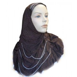 Glittery brown hijab with buttons and fine chains