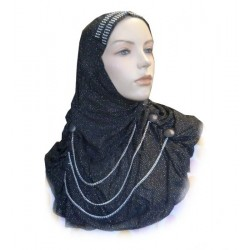 Glittery black hijab with buttons and fine chains