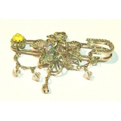 Golden brooch for Hijab with yellow diamond