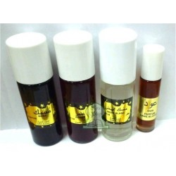 Pack of 4 concentrated musk fragrance without alcohol (3 x 30 ml + 10 ml)