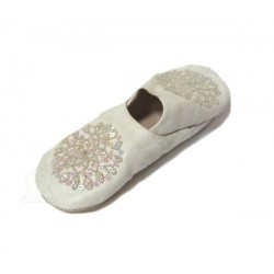 Traditional Berber slipper with rounded end for women white color decorated with...