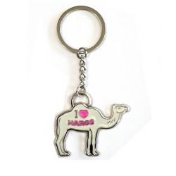Porte clé en metal argenté sous forme de chameau avec inscription MAROC