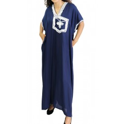 Short-sleeved dress in Navy Blue with White embroidery
