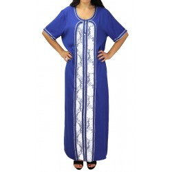 Interior dress embroidered short sleeves with rhinestones - Blue color