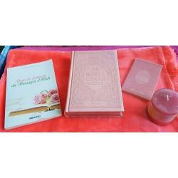 Pack Cadeau rose clair pour femme musulmane : Le Noble Coran Rainbow (français/arabe) -...