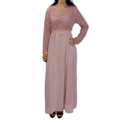 Long evening dress with lace - Pink color