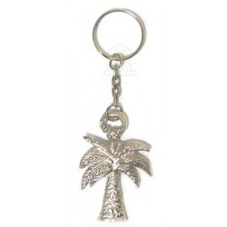 Handcrafted Moroccan palm tree keychain made of silver metal
