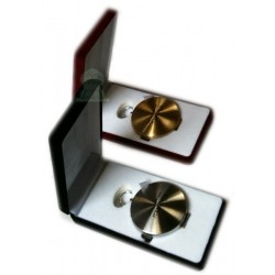 Set of 2 high precision gold + silver metallic compasses in velvet boxes