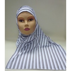 "White ""Assala"" hijab with black stripes - 1 piece"
