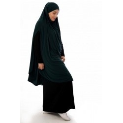 Large cape - Long prayer hijab for women with slits - Fir green color