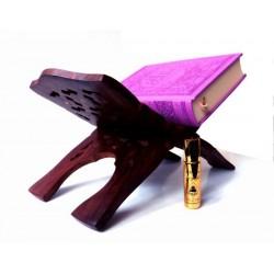 Pack cadeau pour femmes constitué d'un Coran couverture daim de luxe (mauve) + joli...