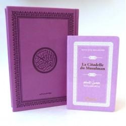 Pack cadeau : Le Saint Coran en arabe couverture daim de luxe (mauve) + La Citadelle du...