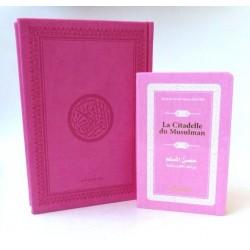 Pack cadeau : Le Saint Coran en arabe couverture daim de luxe (rose) + La Citadelle du...
