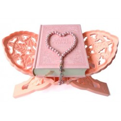 Light pink luxury gift box / pack for women: The Holy Quran (French / Arabic /...