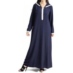 Djellaba marocaine pour femme avec dentelle et capuche - Couleur bleu marine
