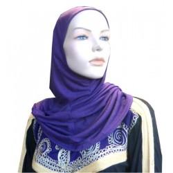 Simple half long purple hijab