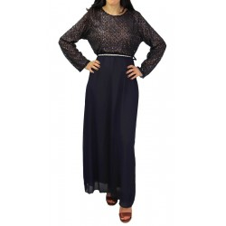 Long evening dress with lace - Color Navy Blue