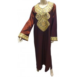 """Brown """"Chaima"""" evening dress with gold embroidery"""